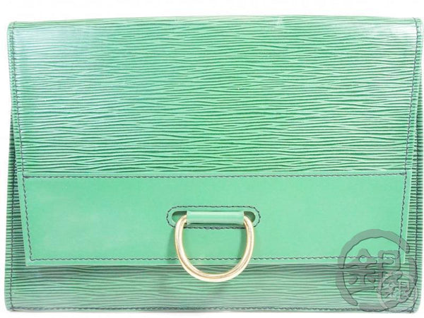 authentic pre-owned louis vuitton epi borneo green pochette iena 28 clutch bag m52726 191699