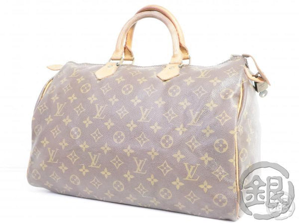 authentic pre-owned louis vuitton lv monogram speedy 35 boston hand bag duffle m41526 m41108 191762