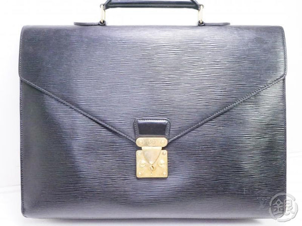 AUTHENTIC PRE-OWNED LOUIS VUITTON EPI NOIR SERVIETTE CONSEILLER BUSINESS BRIEFCASE BAG M54422 191701