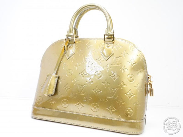 AUTHENTIC PRE-OWNED LOUIS VUITTON VERNIS GRIS ART DECO ALMA PM HAND TOTE BAG M91613 191855