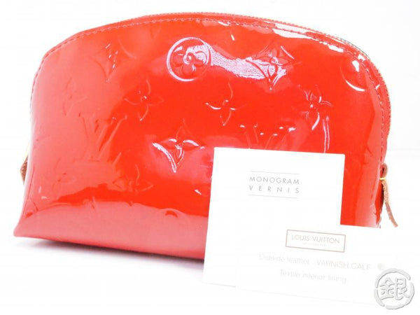 authentic pre-owned louis vuitton vernis cerise rouge red pochette cosmetic pouch bag m90172 191925