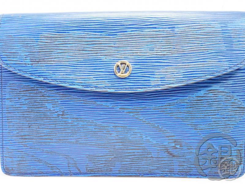 AUTH PRE-OWNED LOUIS VUITTON VINTAGE EPI TOLEDO BLUE POCHETTE MONTAIGNE MM CLUTCH BAG M52665 B191971