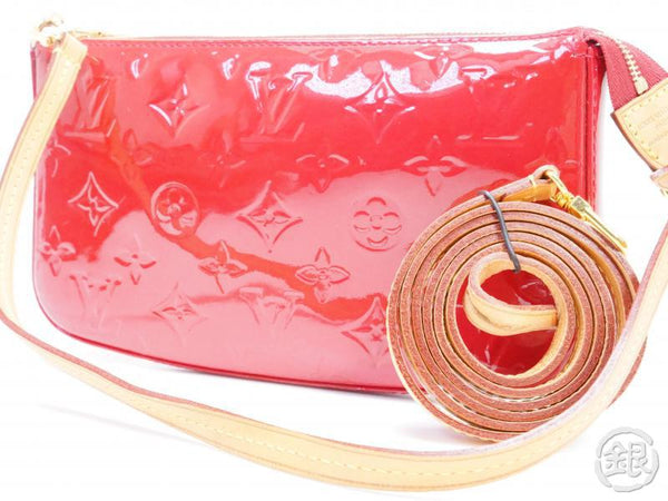 AUTHENTIC PRE-OWNED LOUIS VUITTON VERNIS ROSE INDIAN POCHETTE ACCESSOIRES 2-WAY POUCH M91574 200008