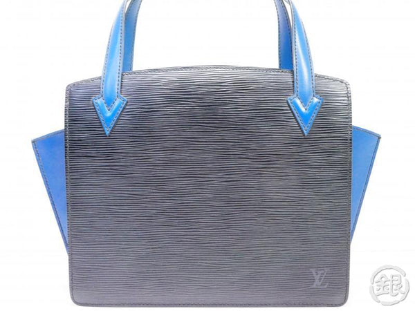 AUTHENTIC PRE-OWNED LOUIS VUITTON EPI BICOLOR BLACK BLUE VARENNE COMPARTMENT HAND BAG M52385 200005