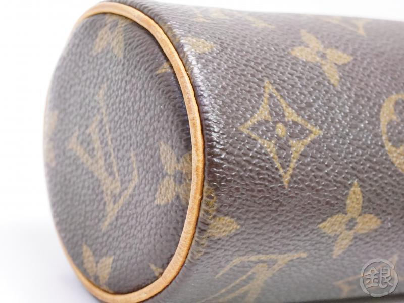 AUTHENTIC PRE-OWNED LOUIS VUITTON MONOGRAM TROUSSE RONDE PEN CASE COSMETIC POUCH BAG M47630 200038