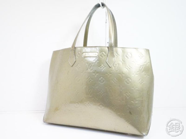AUTHENTIC PRE-OWNED LOUIS VUITTON VERNIS GRIS ART DECO WILSHIRE BOULEVARD MM TOTE BAG M91648 200054