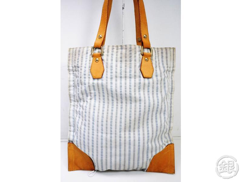 AUTHENTIC PRE-OWNED LOUIS VUITTON LIMITED STRIPED COTTON INITIAL TANGIER TOTE BAG M40024 191635