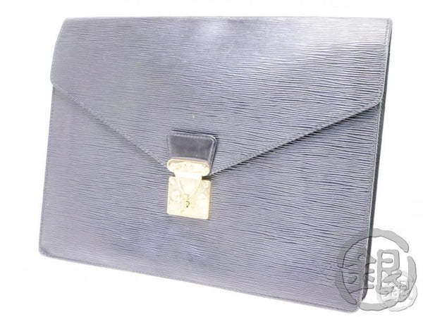 AUTHENTIC PRE-OWNED LOUIS VUITTON EPI BLACK PORTE-DOCUMENTS SENATEUR DOCUMENT CLUTCH M54452 B200015