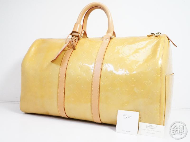 AUTHENTIC PRE-OWNED LOUIS VUITTON LV VERNIS BEIGE MERCER KEEPALL TRAVELING DUFFLE BAG M91000 180539