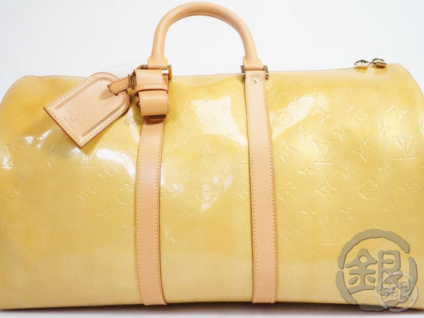 AUTHENTIC PRE-OWNED LOUIS VUITTON LV VERNIS BEIGE MERCER KEEPALL TRAVELING DUFFLE BAG M91000 140646