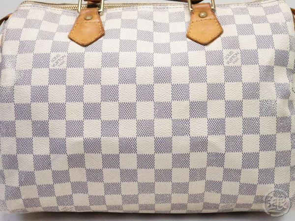 AUTHENTIC PRE-OWNED LOUIS VUITTON DAMIER AZUR SPEEDY 30 DUFFLE HAND BAG PURSE N41533 N41370 200118