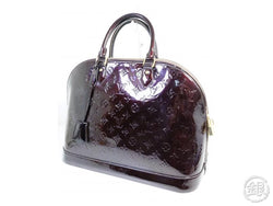 AUTHENTIC PRE-OWNED LOUIS VUITTON LV VERNIS LEATHER AMARANTE ALMA MM HAND TOTE BAG M93595 200150