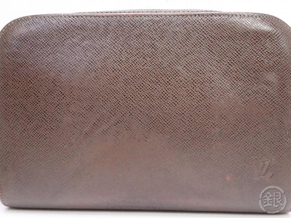 authentic pre-owned louis vuitton taiga grizzly brown pochette baikal clutch bag m30188 200196