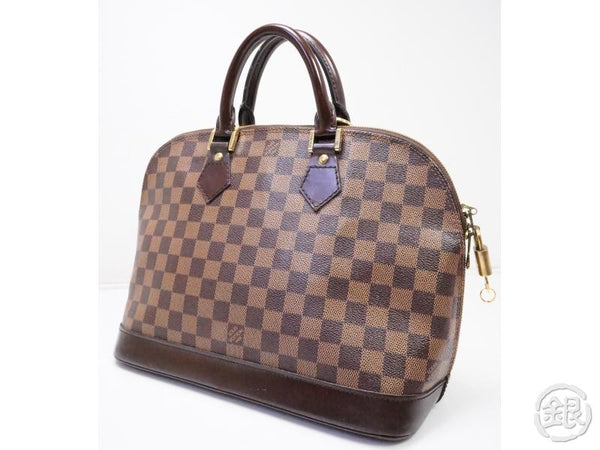 authentic pre-owned louis vuitton lv damier ebene alma hand tote bag purse n51131 200192