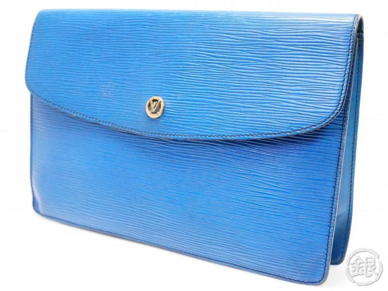 authentic pre-owned louis vuitton epi toledo blue pochette montaigne gm 27 clutch bag m52655 200182