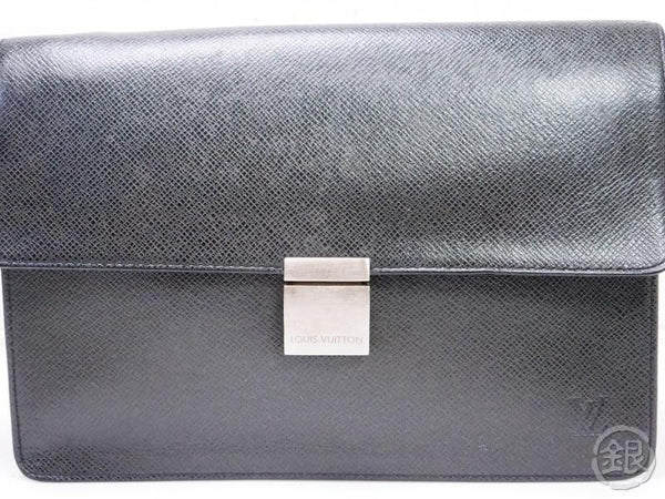 authentic pre-owned louis vuitton taiga ardoise black pochette selenga clutch bag m30782 200187
