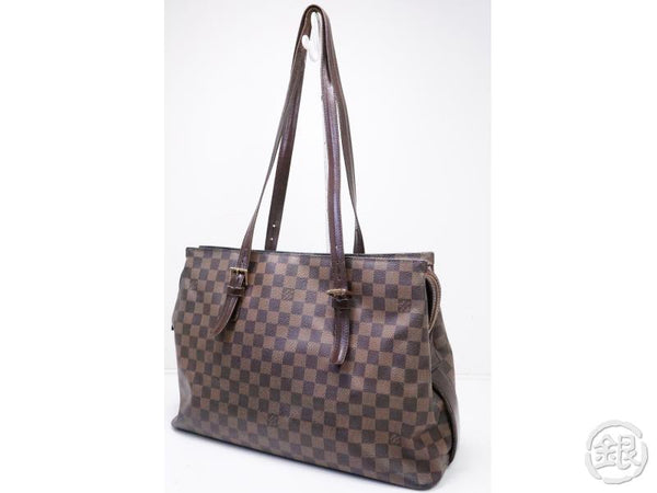 authentic pre-owned louis vuitton damier ebene chelsea large shoulder tote bag n51119 200232