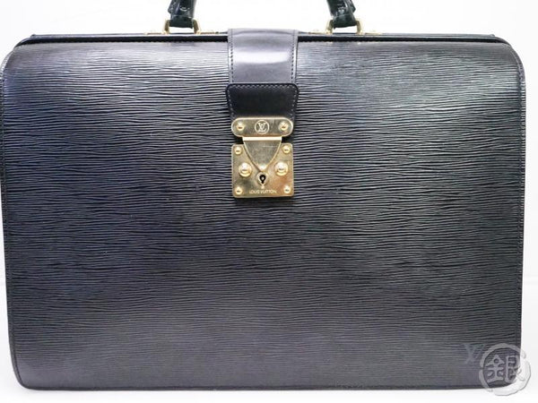 authentic pre-owned louis vuitton epi black noir serviette fermoir briefcase hand bag m54352 200221