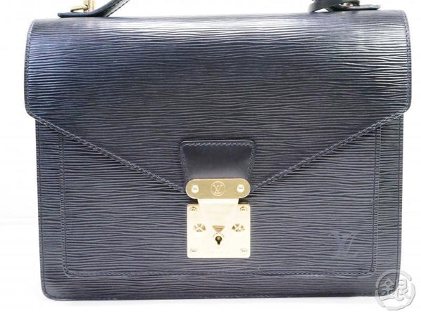 authentic pre-owned louis vuitton epi black monceau hand bag purse w/ shoulder strap m52122 200219