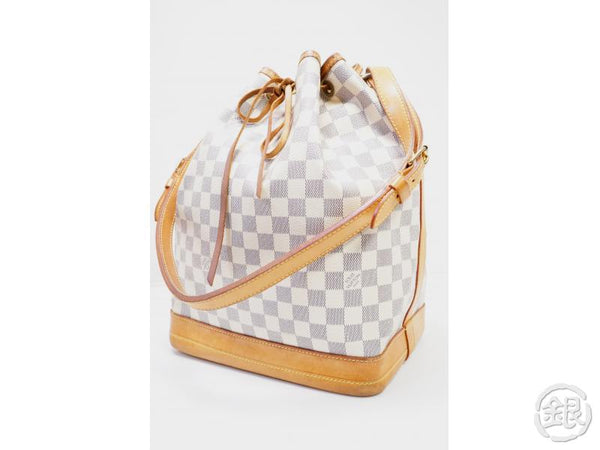 authentic pre-owned louis vuitton damier azur noe shoulder bag wine bag drawstring bag n42222 200217