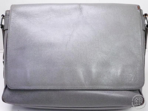 authentic pre-owned louis vuitton taiga glacier gray roman gm messenger cross body bag m32626 200216