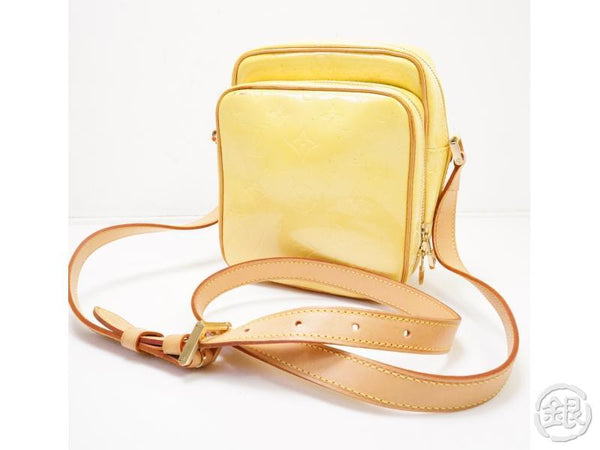 authentic pre-owned louis vuitton vernis yellow wooster messenger crossbody bag purse m91075 200210