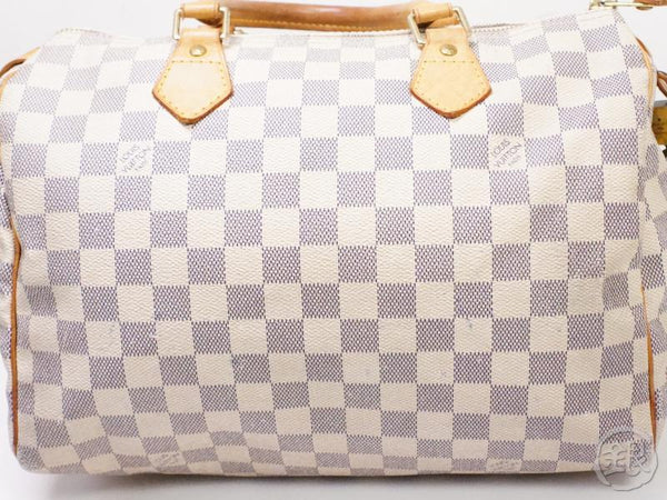 authentic pre-owned louis vuitton damier azur speedy 30 duffle hand bag purse n41533 n41370 200203