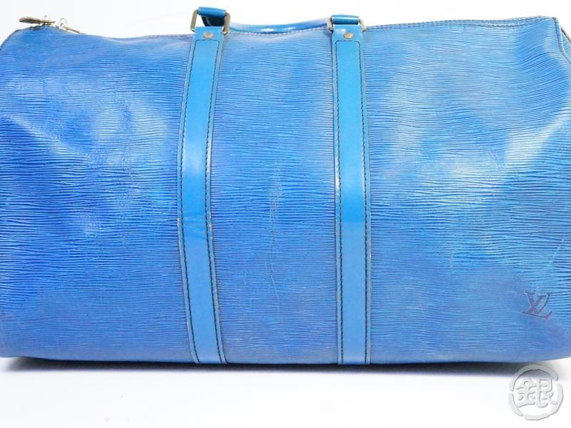 authentic pre-owned louis vuitton epi toledo blue keepall 45 travel duffle bag m42975 200247