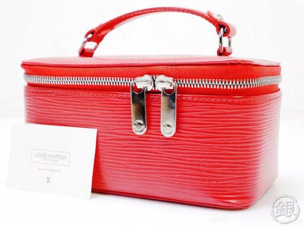 authentic pre-owned louis vuitton epi rouge coffret a bijoux jewelry case vanity bag m6009e 200246