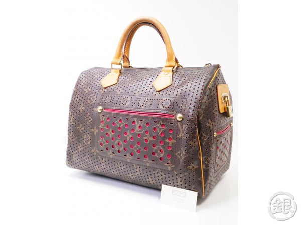 authentic pre-owned louis vuitton monogram perforated fuchsia pink speedy 30 hand bag m95180 200358