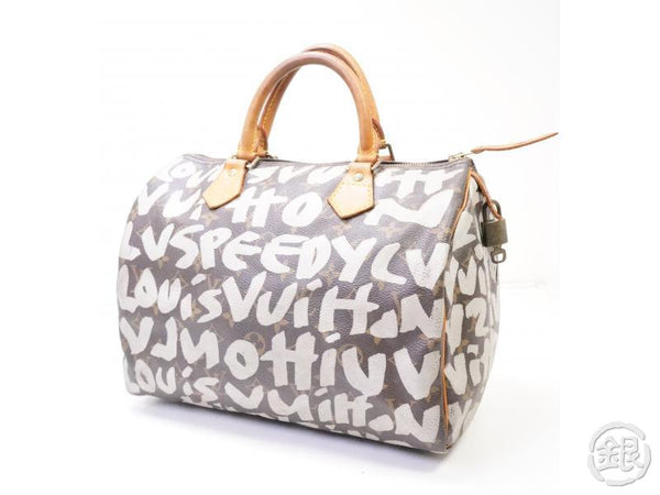 authentic pre-owned louis vuitton limited monogram graffiti speedy 30 duffle hand bag m92195 200357