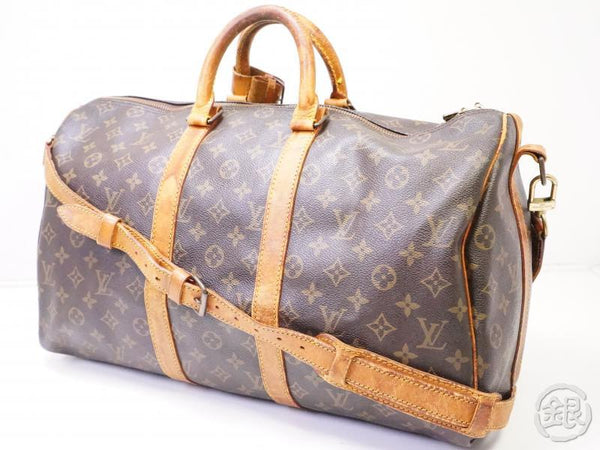 authentic pre-owned louis vuitton vintage monogram keepall bandouliere 45 duffle bag m41418 200360