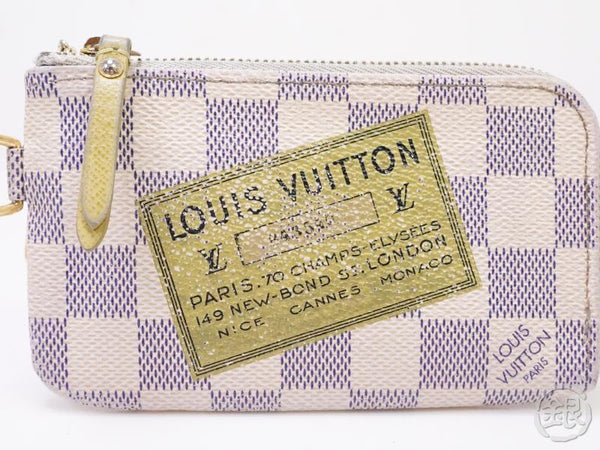 auth pre-owned louis vuitton limited label series damier azur pochette cles complice n63085 200322