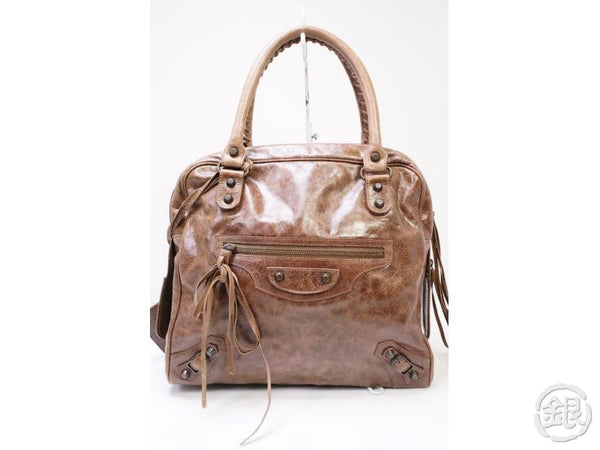 Authentic Pre-owned Balenciaga Mini Bowling Shopper Hand Bag Brown 200377