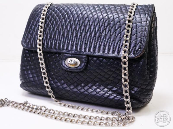 Authentic Pre-owned Bally Quilting Chain Crossbody Shoulder Bag Black 200386