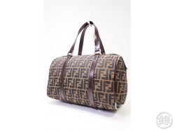 Authentic Pre-owned Fendi Vintage Zucca Pattern Monogram Speedy style Boston Bag Beige 200379