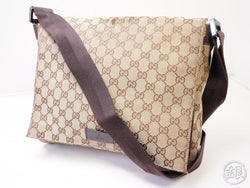 Authentic Pre-owned Gucci Vintage Gucci GG Plus Crossbody Messenger Bag Beige 200392