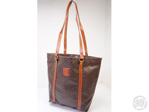 Authentic Pre-owned Celine Macadam Shopper Shoulder Tote Brown 200393