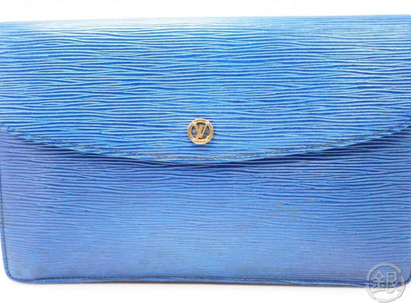 authentic pre-owned louis vuitton epi toledo blue pochette montaigne gm 27 clutch bag m52655 200342