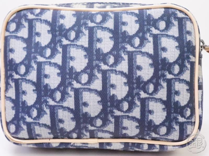 Authentic Pre-owned Christian Dior Vintage Trotter Pouch Blue White Nylon Spain 200411