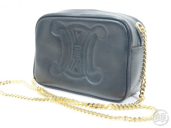 authentic pre-owned celine vintage gold chain black leather logo pochette crossbody bag italy 142770