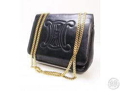 authentic pre-owned celine vintage gold chain black leather logo 2-length shoulder bag italy 193003