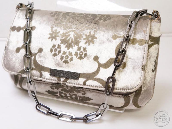 Authentic Pre-owned Gucci Gucci Velor Chain Shoulder Bag Silver 200397