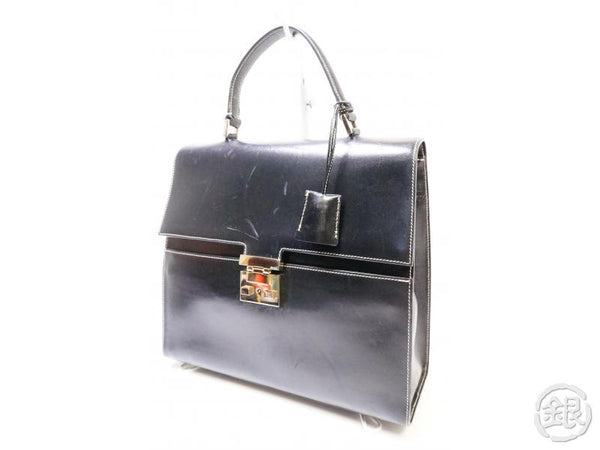 Authentic Pre-owned Gucci Vintage Leather Kelly Style Hand Bag Black 200402