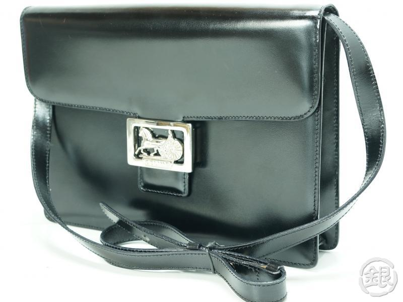 authentic pre-owned celine paris vintage black leather horse carriage shoulder bag italy 132989
