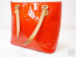 authentic pre-owned louis vuitton vernis rouge red houston shoulder tote bag purse m91092 200350