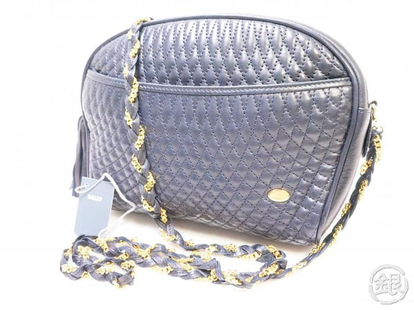 authentic pre-owned bally quilting fringe gold chain crossbody shoulder bag navy 111132