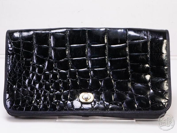 authentic pre-owned bally vintage black Crocodile skin leather clutch bag purse 111122