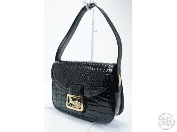 authentic pre-owned celine vintage black Crocodile skin horse carriage shoulder bag italy 132989