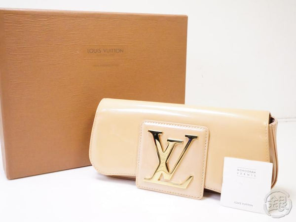 authentic pre-owned louis vuitton vernis blanc corail pochette sobe party clutch bag m93489 200345